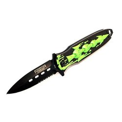 "New 7.5"" Defender Extreme Spring Assisted Skull Design Knife With Serrated Stainless Steel Blade - Green"