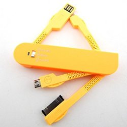 Swiss Folding Saber Design Multi-Functional Usb Travel Data Cable Orange