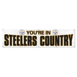 "Nfl Pittsburgh Steelers ""You'Re In Steelers Country"" White 8 Foot Banner"