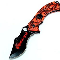 """8"""" Red Zombie-War Spring Assisted Knife Skull Head Blade With Belt Clip"""