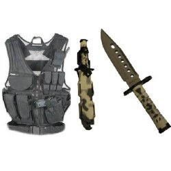Ultimate Arms Gear Stealth Black Lightweight Edition Tactical Scenario Military-Hunting Assault Vest W/ Right Handed Quick Draw Pistol Holster + Urban / Snow Camo Camouflage Lightweight Cut Stainless Steel M9 M-9 Military Survival Blade Bayonet Knife With