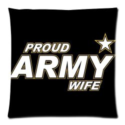 Jdsitem Simple Proud Army Wife Star Design 18 By 18 Inch Zippered Cotton And Polyester Square Pillowcases Protector Case
