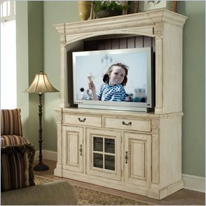 Image of Riverside Furniture Weybridge 64 Inch TV Stand with Deck in Madera Cherry and Wellington White (80140-41)
