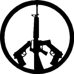 Global Graffix Peace Signs With Guns Wall Decal Sticker Small Black
