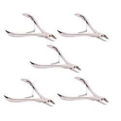 Professional Beauty Manicure Pedicure Stainless Steel Cuticle Nipper Nail Art Cutter Clipper (5 Pieces, Double Spring 8719B)
