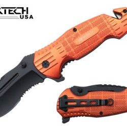 "Wartech 8"" Assisted Open Folding Tactical Survival Heavy Duty Pocket Knife Black Blade And Orange Handle"