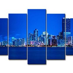 5 Piece Wall Art Painting Miami Night Skyline With Blue Light Prints On Canvas The Picture City Pictures Oil For Home Modern Decoration Print Decor For Bedroom