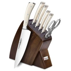 Wusthof Classic Ikon Creme 7-Piece Walnut Slim Knife Block Set