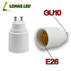 Lohas® 3-Pack Gu10 To E26 Adapter-Converts Pin Base Fixture(Gu10) Socket To Medium Screw(E26/E27) Socket-Adapter Converter-Suitable For Led Lights Bulbs,Halogen Cfl Lighting Lamp