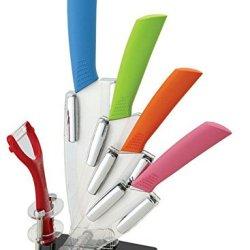 New Ceramic Knife, 6Pcs Gift Set 3 Inch+4 Inch+5 Inch+6 Inch+Peeler +Knife Acrylic Holder Block,Mix Color Handle Ceramic Knife