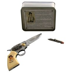 Billy The Kid Old West Outlaw Pistol Shaped And Bullet Shaped Pocket Knife Gift Box Set