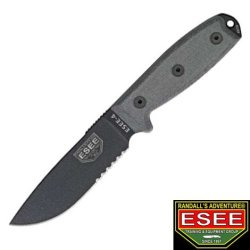 Esee Knives 4Sko Part Serrated Black Powder Coated Model 4 Fixed Blade Knife With Black Linen Micarta Handles