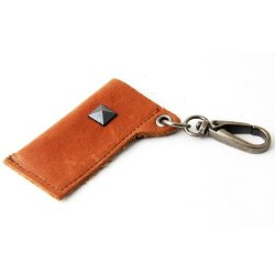 Leather Lighter Holder Key Chain W/Stud (Brown)
