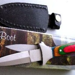 6 And 1/2 Inch Slim Boot Knife With Colored Wood Handle