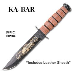 Ka-Bar 9109 Usmc Pearl Harbor Commemorative, Plain, Leather Handle