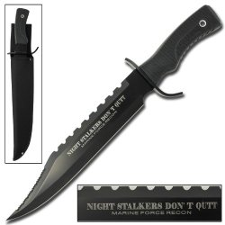 Night Stalkers Don'T Quit Hunting Outdoor Survivors Bowie Sawback Knife 17 Inches Black