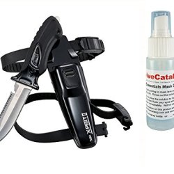 Tusa Scuba Dive X-Pert Ii Knife Drop Point Fk-910 - Black W/ Free Mask Defog 2Oz Spray Bottle