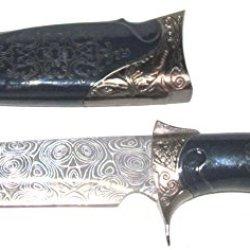 """11"""" Hunting Bowie Knife Laser Etched Damascus Blade With Black Engraved Handle & Sheath"""