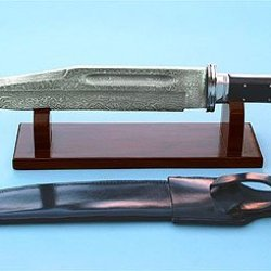 Damascus Bowie Knife W/ Leather Sheath & Rosewood Stand