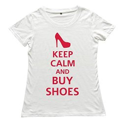 Goldfish Women'S Nerdy Casual Keep Calm Buy Shoes T-Shirt White Us Size Xl