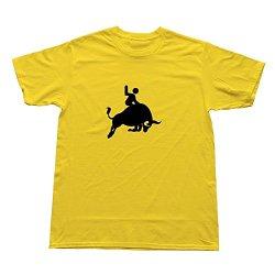 Goldfish Men'S Art Blank Bull Riding T-Shirt Yellow Us Size S