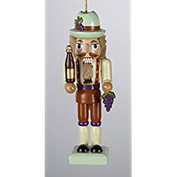 """4"""" Tuscan Winery Wooden Nutcracker with Purple Grape Cluster Christmas Ornament"""