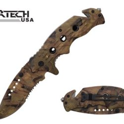 "Wartech 8"" Spring Assisted Folding Rescue Pocket Knife Real Tree Camo Full Covered"