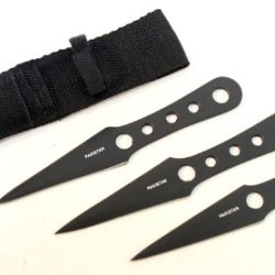 3 Pcs Set All Black Sharp Throwing Knives With Sheath
