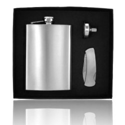 Set 8Oz Stainless Steel Flask, And Pocket Knife Groomsman Gift