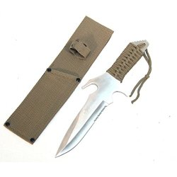 "New 12"" Full Tang Green Handle Hunting Knife With Green Sheath 6406"