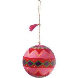 Luna Bazaar Zigzag Painted Paper Mache Ornament - 3 Inch .