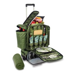 Picnic Time Excursion Deluxe Cooler On Wheels With Picnic Service For 4, Pine Green