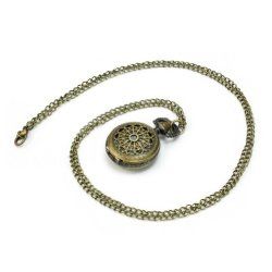 Antique Retro Bronze Steampunk Quartz Clock Pocket Watch Pendant Necklace Chain