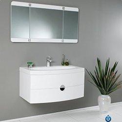 Fresca Energia White Modern Bathroom Vanity With Three Panel Folding Mirror
