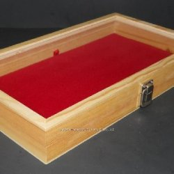 Natural Wood Glass Top Lid Red Pad Display Box Case Medals Awards Jewelry Knife