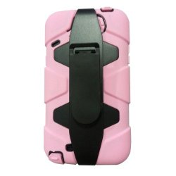 Meaci® Iphone 5C 3 In 1 Light Pink Defender Body Armor With Tpu Clip Against Shocks Hard Case
