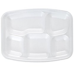 "White Foam Fast Food Tray 5 Compartment Divided Lunch Tray, Dinner Plate, Appetizer Platter, Rectangular 9"" X 12"" - 20 Count"