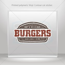 Decal Hot & Delicious Burgers Hobbies Motorbike Vehicle Tablet Laptop Durable (6 X 3.53 In)