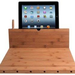 Cta Digital Bamboo Cutting Board With Ipad Stand, Stylus And Knife Storage
