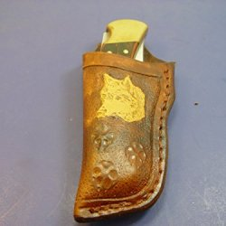 Custom Left Hand Tooled Leather Knife Sheath For Buck 110 Tooled And Dyed Brown