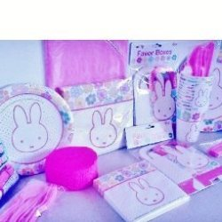 Miffy / Nijntje Bunny Rabbit Theme Birthday Party Kit ~ Super Deluxe Pack ~ Dinner Plates, Dessert Plates, Table Cover, Large And Small Napkins, Cups, Forks, Knives, Spoons, Favor Boxes, Balloons, And Streamers ~ Package Serves 12