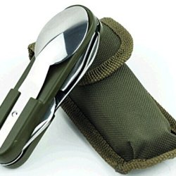 Verany Utility Knife With Pouch, Spoon, Fork, Can/Bottle Opener, Corkscrew
