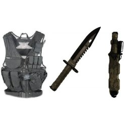Ultimate Arms Gear Stealth Black Lightweight Edition Tactical Scenario Military-Hunting Assault Vest W/ Right Handed Quick Draw Pistol Holster + Acu Army Digital Camo Camouflage Special Forces Series M9 M-9 Military Sawback Survival Stealth Black Blade Ba