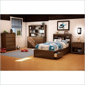 Image of South Shore Nathan Kids Twin Mates Bed 5 Piece Bedroom Set in Sumptuous Cherry Finish (3356212-5PKG)