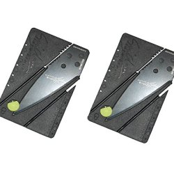 2Pack Stainless Steel Pocket Knives Credit Card Sized Safety Folding Knife With Black Blade For Outdoor Camping