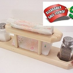 3Pc Table Caddy Natural Pine Wood - Salt Pepper Napkins Holder
