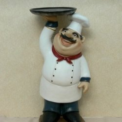 Fat Chef Kitchen Figure Table Art Statue Holding Serving Platter D64125