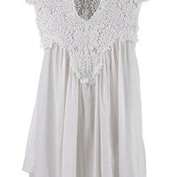Anna-Kaci S/M Fit White Crochet Paisley Lace Yoke Knife Pleats Flowing Blouse