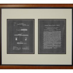 "Combined Pocket Knife And Rule Patent Art Chalkboard Print In A Honey Glazed Wood Frame (16"" X 20"")"