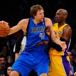 Dallas Mavericks V Los Angeles Lakers - Game Two, Los Angeles, Ca - May 04: Dirk Nowitzki And Lamar Photographic Poster Print By Kevork Djansezian, 8X12